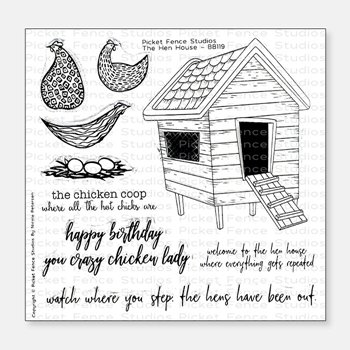 Picket Fence Studios THE HEN HOUSE Clear Stamp Set bb119