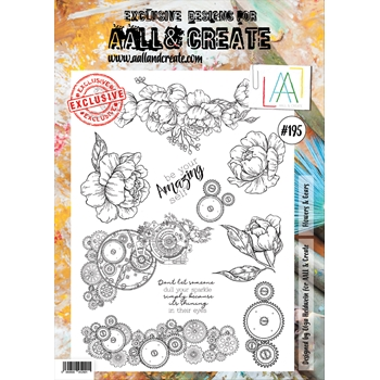AALL & Create FLOWERS AND GEARS 195 Clear Stamp aal00195
