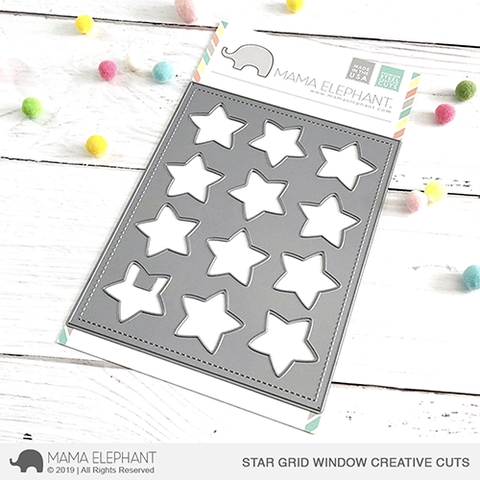 Mama Elephant STAR GRID WINDOW Creative Cuts Steel Dies Preview Image