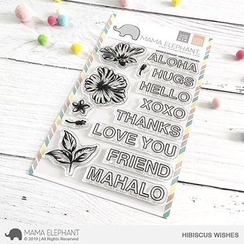 RESERVE Mama Elephant Clear Stamps HIBISCUS WISHES