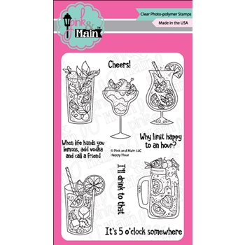 Pink and Main HAPPY HOUR Clear Stamps PM0343