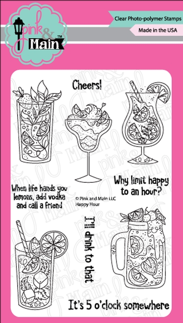 Pink and Main HAPPY HOUR Clear Stamps PM0343 zoom image