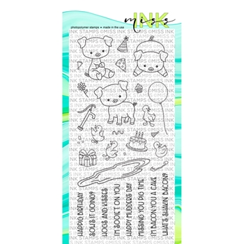 Miss Ink Stamps PUNNY FARM PIGS Clear Set 519st02