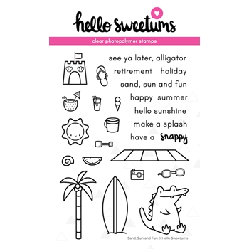Hello Sweetums SAND SUN AND FUN Clear Stamp Set 624002*