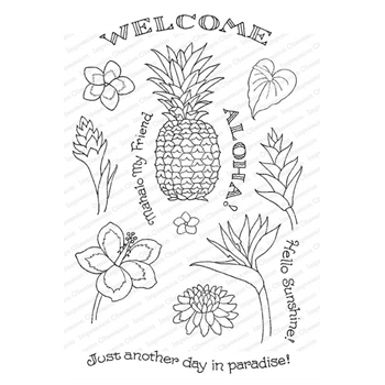 Pink Ink for Impression Obsession Clear Stamps PINEAPPLE WELCOME CL945