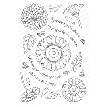 Pink Ink for Impression Obsession Clear Stamps SUNNY FLOWERS CL943