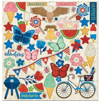 BoBunny CELEBRATE FREEDOM Chipboard Stickers 7310558