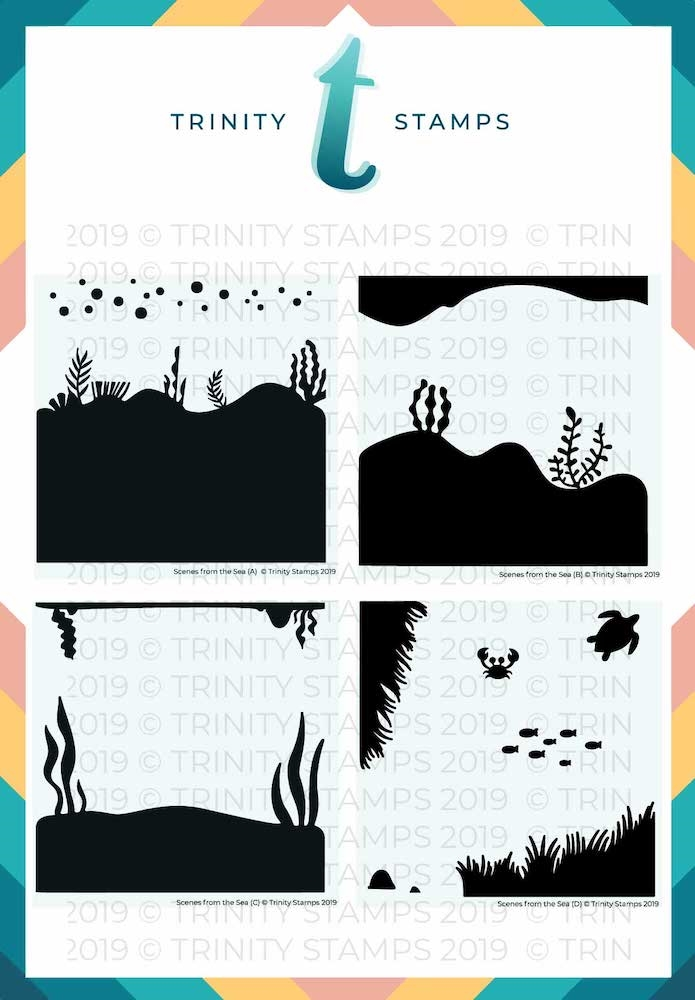 Trinity Stamps SCENES FROM THE SEA 6 x 6 Stencil Set of 4 261583 zoom image