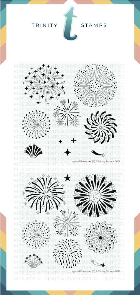 Trinity Stamps LAYERED FIREWORKS 6 x 6 Stencil Set of 2 782456 zoom image