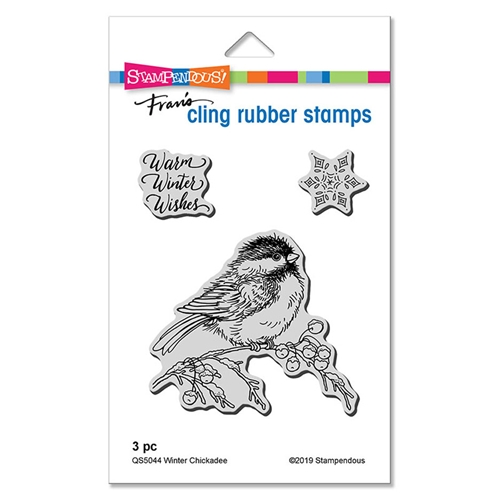 Stampendous Cling Stamp Set WINTER CHICKADEE qs5044 Preview Image