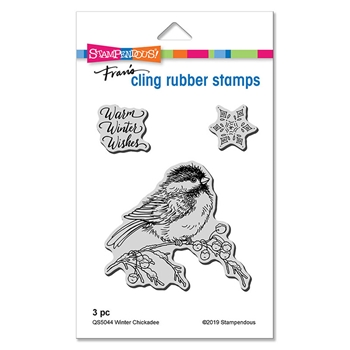 Stampendous Cling Stamp Set WINTER CHICKADEE qs5044