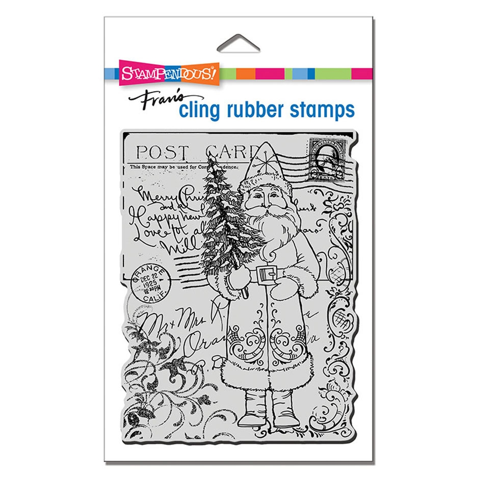 Stampendous Cling Stamp POSTCARD SANTA crr317 zoom image