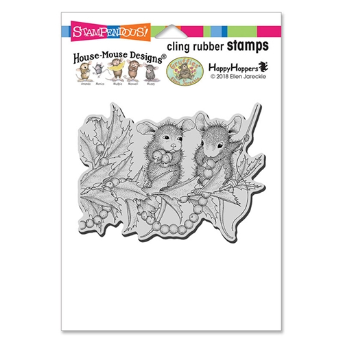 Stampendous: House Mouse Stringing Berries Cling Stamp