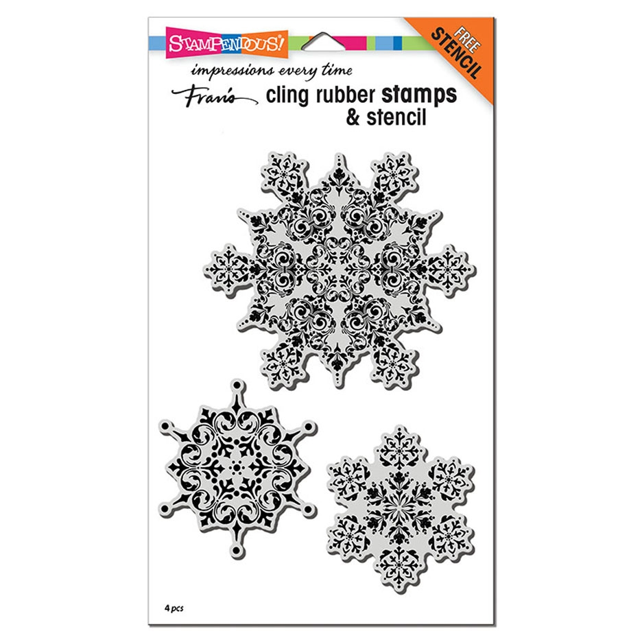 Stampendous Cling Stamps INTRICATE SNOWFLAKES with Stencil crs5107 zoom image