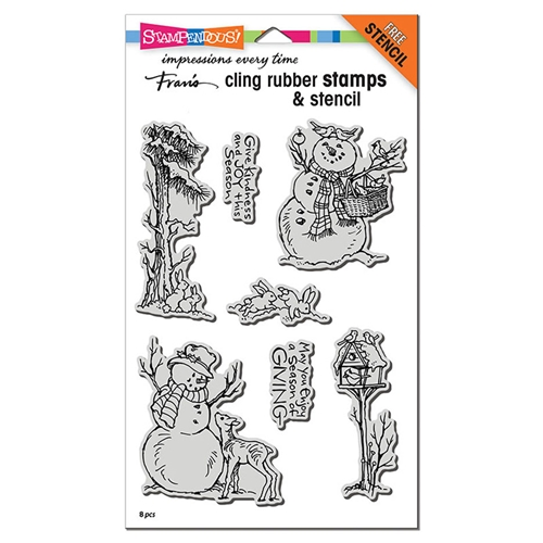 Stampendous Cling Stamps GIVING SNOWMEN with Stencil crs5108 Preview Image