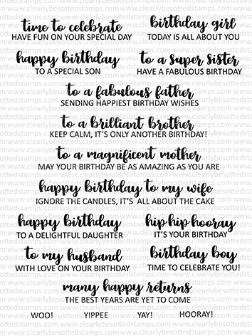 Clearly Besotted SIMPLY SAID BIRTHDAY Clear Stamps CBSSI312 zoom image