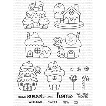 Clearly Besotted HOME SWEET HOME Clear Stamps CBSHO229