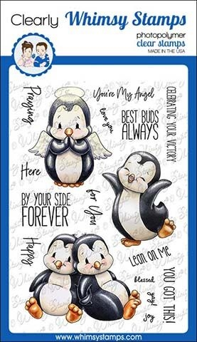 Whimsy Stamps PENGUIN LEAN ON ME Clear Stamps C1340 zoom image