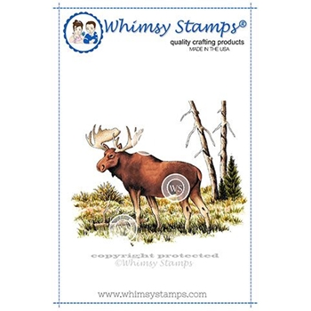 Whimsy Stamps MOOSE SCENE Rubber Cling Stamp DA1119