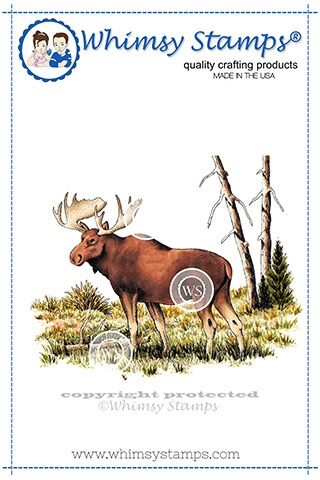 Whimsy Stamps MOOSE SCENE Rubber Cling Stamp DA1119 zoom image