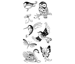 Inkadinkado Clear Stamps PATTERNED BIRDS & BUGS  99120 Owl Butterfly