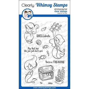 Whimsy Stamps MERMAID BIRTHDAY Clear Stamps CWSD279