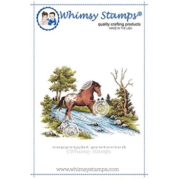 Whimsy Stamps HORSE SCENE Rubber Cling Stamp DA1117
