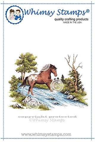 Whimsy Stamps HORSE SCENE Rubber Cling Stamp DA1117 zoom image