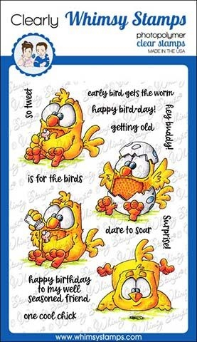 Whimsy Stamps EARLY BIRDS Clear Stamps DP1018 Preview Image