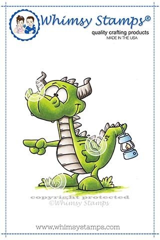 Whimsy Stamps DRAGON PULL MY FINGER Cling Stamp DP1016 Preview Image