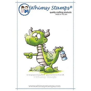 Whimsy Stamps DRAGON PULL MY FINGER Cling Stamp DP1016
