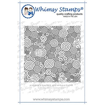 Whimsy Stamps CURLY Q'S BACKGROUND Rubber Cling Stamp DDB0026