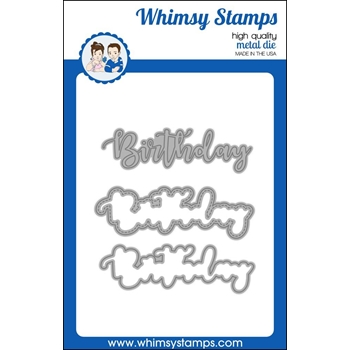 Whimsy Stamps BIRTHDAY WORD WITH SHADOW Dies WSD391