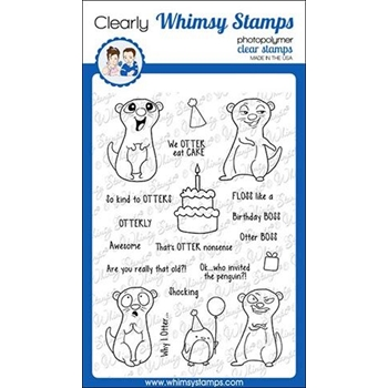 Whimsy Stamps BIRTHDAY OTTERS Clear Stamps CWSD276