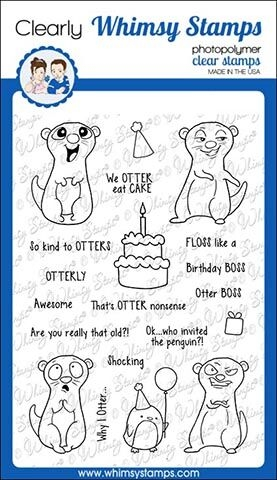 Whimsy Stamps BIRTHDAY OTTERS Clear Stamps CWSD276 zoom image