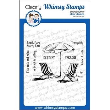 Whimsy Stamps BEACH RETREAT Rubber Cling Stamp CWSD271