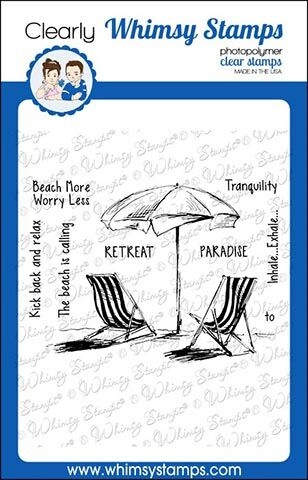 Whimsy Stamps BEACH RETREAT Rubber Cling Stamp CWSD271 zoom image