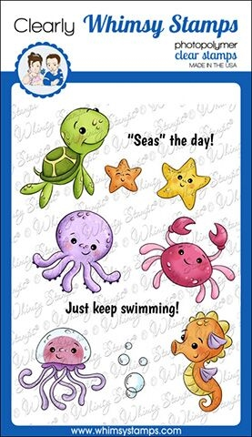 Whimsy Stamps BABY SEA CREATURES Clear Stamps KHB133 zoom image