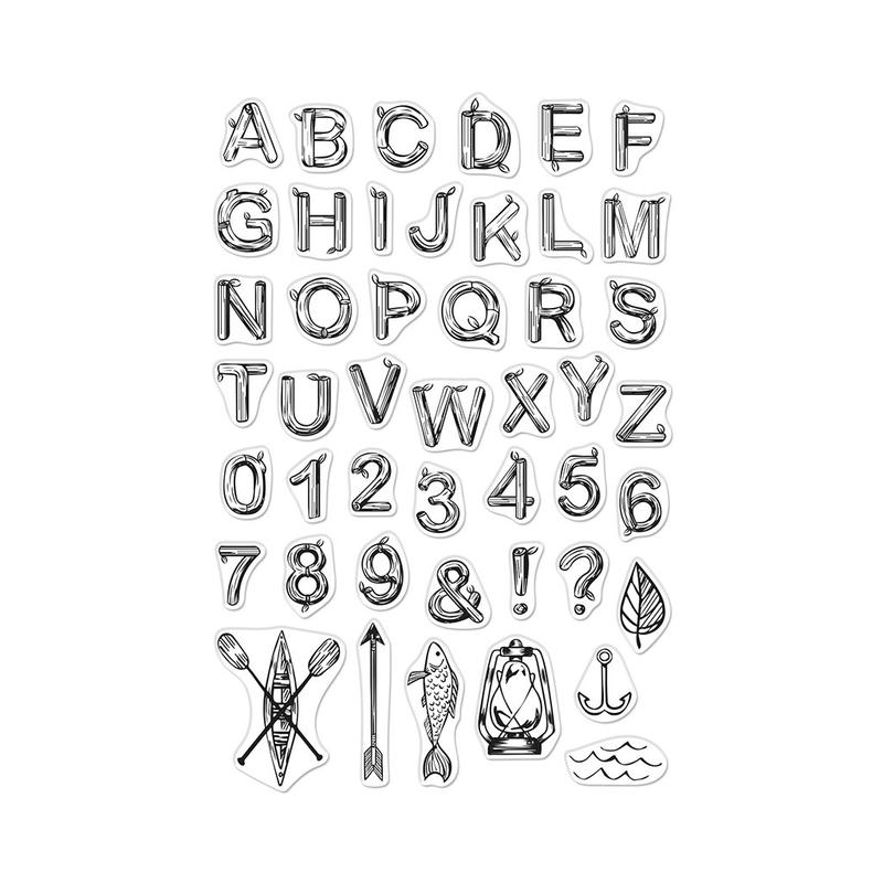 Hero Arts Clear Stamps LOG LETTERS AND NUMBERS CM383  zoom image