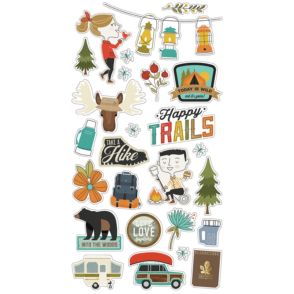 Simple Stories HAPPY TRAILS 6 x 12 Chipboard Stickers 10818 zoom image
