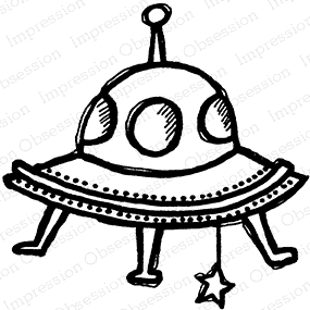 Impression Obsession Cling Stamp SPACE SHIP D21205