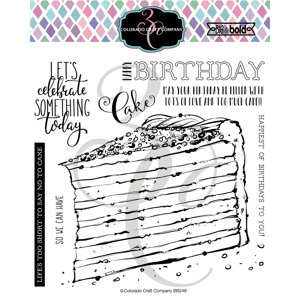 Colorado Craft Company Big and Bold BIRTHDAY CAKE Clear Stamps BB2483 zoom image