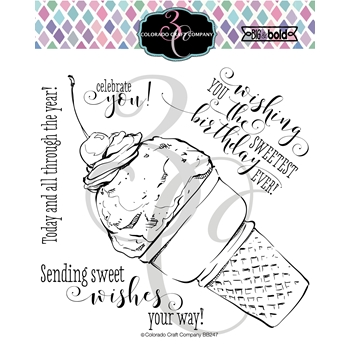 Colorado Craft Company Big and Bold SWEETEST BIRTHDAY CONE Clear Stamps BB247
