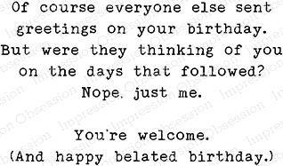 Impression Obsession Cling Stamp BIRTHDAY GREETINGS C13791 Preview Image