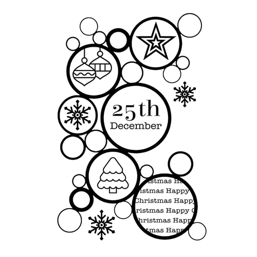 Woodware Craft Collection CHRISTMAS BUBBLES Clear Stamp frs772 Preview Image