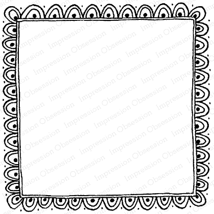 Impression Obsession Cling Stamp SCALLOPED FRAME F12072 Preview Image