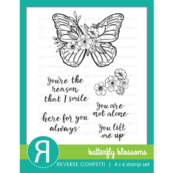 Reverse Confetti BUTTERFLY BLOSSOMS Clear Stamps