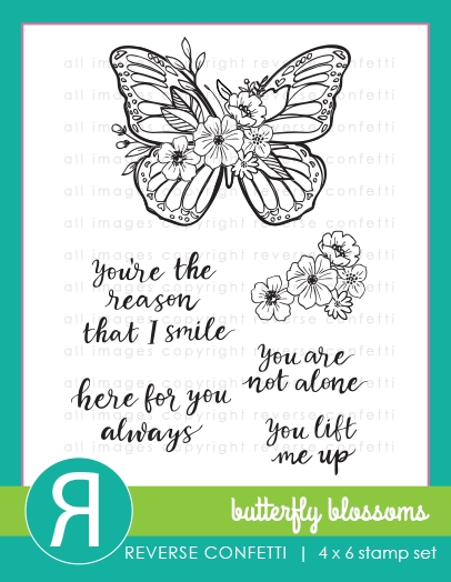 Reverse Confetti BUTTERFLY BLOSSOMS Clear Stamps zoom image
