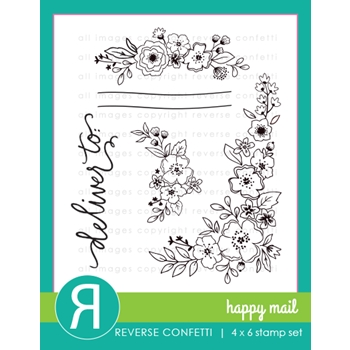 Reverse Confetti HAPPY MAIL Clear Stamps