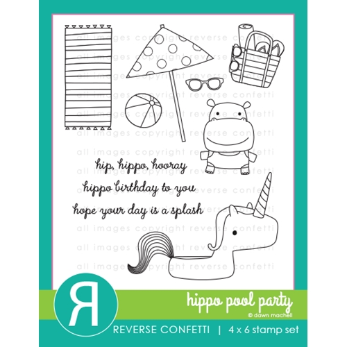 Reverse Confetti HIPPO POOL PARTY Clear Stamps Preview Image